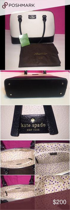 Beautiful Kate Spade Bag I love this purse but it's just to large for me. I have carried it a few times and I always get compliments on it. It had a spot on it when I purchased as shown in the 4th pics. I did not try to get it off so it may wipe off. It has been in the dust bag in the top of my closet for long enough so I've decided to sell it. It' measures about 15x11x5. kate spade Bags Shoulder Bags