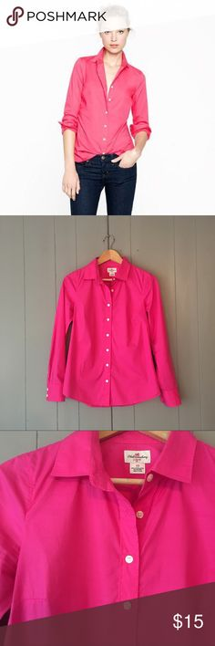 """J. Crew Fuchsia Haberdashery Button Down Top🍃 This beautiful top is in excellent used condition! 97% Cotton, 3% Spandex. Armpit to armpit is approx 17.5"""". Length is 24"""". Offers are welcome. ☺️ J. Crew Tops Button Down Shirts"""