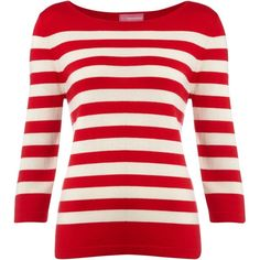 The Department Knit jumper stripe 3/4 sleeve ($39) ❤ liked on Polyvore