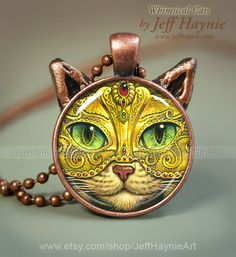 Mardi Gras Cat pendant // Halloween Cat necklace by JeffHaynieArt Cat Lover Gifts, Cat Gifts, Cat Lovers, Cat Jewelry, Resin Jewelry, Crazy Cat Lady, Crazy Cats, Orange Persian Cat, Kitsch