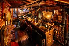 When setting up a basement bar there are some must have items you must have around or your basement bar won't really be a bar but just a basement pretending to be. Pub Bar, Cafe Bar, Best Bars In Orlando, Tiger Bar, Pub Design, Cafe Bistro, Man Cave Home Bar, Wooden Bar, Cool Bars