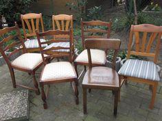 7 alte Holzstühle,sehr schön zum aufbereiten für Bastler..2 x 3 Stühle und ein Einzelner.3 Stühle mit Federn,siehe BilderSitzbezüge in Ordnung