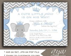 361 best unique baby shower invitations images on pinterest in 2018 elephant baby shower invitation blue grey prince baby shower invitations printable invites baby shower elephant boy filmwisefo