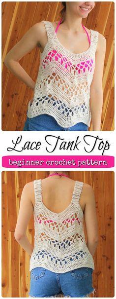 Beginner crochet lace tank top/beach cover up pattern. Cute for summer. #etsy #ad #handmade #summer #beachwear