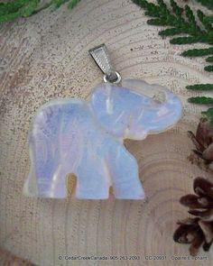 Hand Carved Opalite Elephant Gemstone Pendant                          CC-20931 by CedarCreekCanada on Etsy