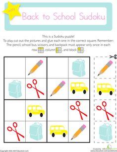 Back to School Kindergarten Patterns Worksheets: Picture Sudoku: Back to School