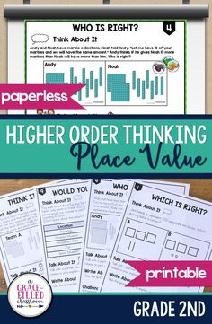 Are your students ready to be challenged with higher order thinking place value problems? You are in the right place!  The problems vary in depth and complexity. Some may have one right or wrong answer, while others do not. Students will need to defend their answers and explain their rationale. Higher Order Thinking Place Value Word Problems Grade 2 