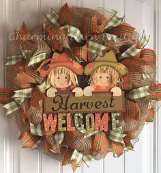 Scarecrow Mesh Wreath - Welcome Wreath - Harvest Welcome - Fall Mesh Wreath…