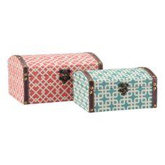 Bombay Company Geometric Storage Boxes - Blue & Coral