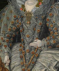 Unknown British Artist. Detail from Portrait of an Elizabethan Woman 1600