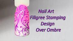 Filigree Stamping Design over Ombre - Nail Art Tutorial #nailart #pinkombre #colourfade #filigree #stamping #pink #white #silver #doublestamping #nailarttutorial #youtubenails #nails #howtonailart #artisticnailspoole #uberchic #stampingnailart #ombre #gradient