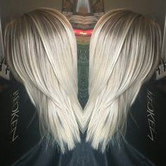 Shadowed root with icy blonde ends