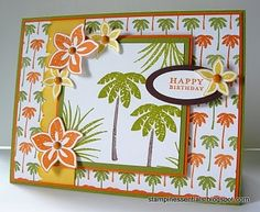 tropical party themed Happy Birthday card using Stampin' Up! stamps