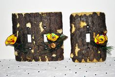 Switchplate Covers Set of Two Log Cabin Wood by GinasCornerCrafts, $23.99