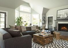 The rug and accent pillows [Painted doors and trim combo]  Broaden Your Horizons - Costello