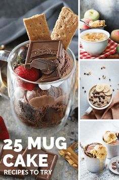 25 of the best mug cake recipes Chocolate Chip Mug Cake, Chocolate Mug Cakes, Vegan Chocolate, Best Mug Cake Recipes, Donut Recipes, Lemon Mug Cake, Vanilla Mug Cakes, Peanut Butter Mug Cakes, Vegan Peanut Butter