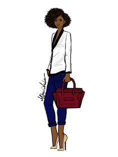 Yes, It's a Blue Jean Monday for Willine! Black Girl Art, Black Women Art, Black Girl Magic, African American Art, African Art, Art Afro, Arte Fashion, Afro Style, Art Africain