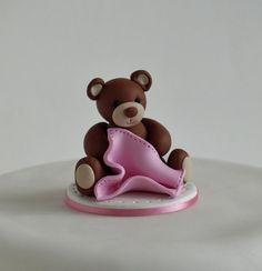 Teddy Bear Baby Girl Christening Baby Shower Cake Topper by TiaLovesArchie on Etsy https://www.etsy.com/listing/201902754/teddy-bear-baby-girl-christening-baby