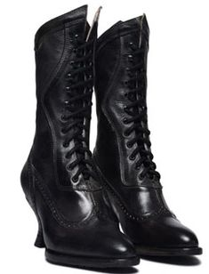5618f2e3e341 These feminine Victorian style Jasmine Womens Black Frontier Granny Boots  are made of soft kidskin leather