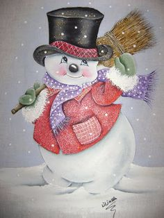 quenalbertini: Snowman with a broom Christmas Rock, Christmas Scenes, Christmas Colors, Christmas Snowman, Christmas Projects, Vintage Christmas, Christmas Decorations, Christmas Ornaments, Snowman Snow Globe