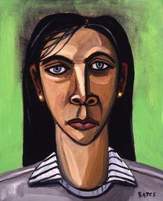 David Bates Woman with Dark Hari co artist and Arthur Roger Gallery