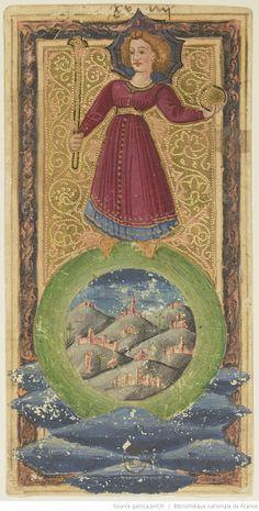 S XV - Le Monde : [carte à jouer,  dessin à la plume : encre noire, sur assiette…