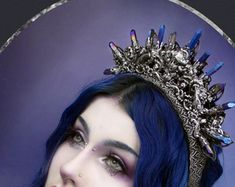 Art Nouveau Inspired Crystal Crown Purple Titanium