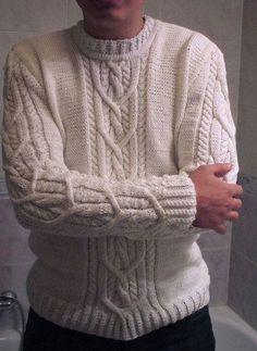 Pulover Aran Knitting Patterns, Cable Knitting, Knitting Designs, Knit Patterns, Knit Or Crochet, Ugly Christmas Sweater, Pulls, Knitwear, Men Sweater