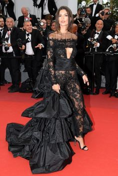 """a208ef1b4a49 Emily Ratajkowski wears Peter Dundas sheer lace jumpsuit at the """"Loveless  (Nelyubov)"""" screening during the annual Cannes Film Festival at Palais des  ..."""