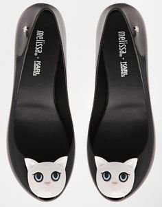 Melissa x Karl Lagerfeld Ultragirl black cat shoes.