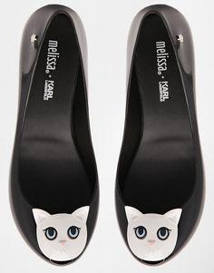 Melissa x Karl Lagerfeld Ultragirl black cat shoes.