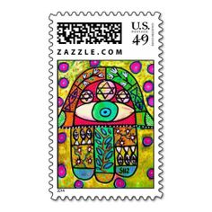 Judaic Stamp - Garden Oasis Hamsa. Wanna make each letter a special delivery? Try to customize this great stamp template and put a personal touch on the envelope. Just click the image to get started!