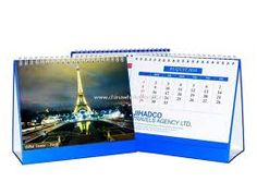 Our most economic desktop tent calendar printed on thicker glossy paper and a double thick cardstock backing.
