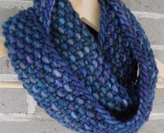 Bold and Blue Merino Wool Hand Knit Infinity by OopsIKnittedAgain, $45.00
