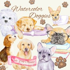 The set of high-quality hand-painted watercolor dogs. Two France bulldogs, Golden Retriever, Beagle, Chihuahua, and Maltese are included in this set. Baby Puppies, Cute Puppies, Dolphin Clipart, Cute Illustration, Mini, Dog Breeds, Illustrators, Dog Lovers, Clip Art