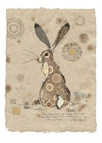 Textile Art 535858055656382683 - Brown Hare by Jane Crowther. Design for Bug Art greeting cards. Source by BrocChic Quilting Projects, Quilting Designs, Art Projects, Art Quilting, Quilting Ideas, Free Motion Embroidery, Hand Embroidery, Machine Embroidery, Bug Art
