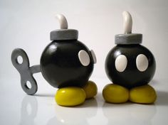 Bobomb Polymer Clay Desk Buddy  Super Mario by ElvenStarClayworks, $30.00