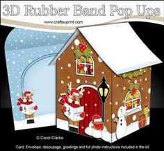 3D Rubber Band Pop Up Christmas Card - Rudolph Goes Carol Singing At The Christmas Gingerbread House