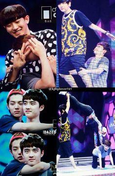 Kyungsoo being tortured by his hyungs on Happy Camp looool poor squishy XD