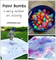 Make messy art outside this summer with these paint bombs! Paint Bombs - a messy outdoor art activity summer activities Outdoor Summer Activities, Outdoor Activities For Toddlers, Babysitting Activities, Outside Activities, Indoor Activities, Kids Camp Activities, Outdoor Fun For Kids, Montessori Activities, Winter Activities