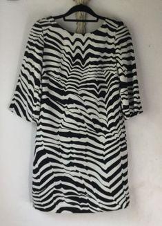 4a39f828add Trina Turk Lesley Dress 6 Black Ivory White Zebra Stripes 3 4 Sleeves V-