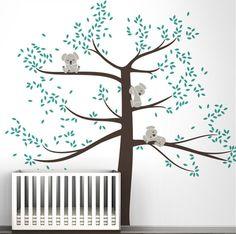 Arbre Autocollant Mural Vinyle Transfert Nursery Decor Mignon Hibou Autocollant Belle fresque UK
