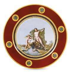 A Sèvres plate, circa 1805 of Service Olympique-type, painted at the centre with…