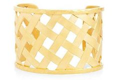 With a classic basket-weave pattern and a glam gold-overlay finish, this cuff is suited for nearly any occasion.