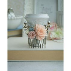 Wedding Comb Pink Floral Hair Comb Pink Wedding Ivory and Pink Rustic... ($29) ❤ liked on Polyvore featuring accessories, hair accessories, decorative combs, grey, vintage comb, hair comb accessories, flower hair accessories, hair comb and pink flower hair accessories