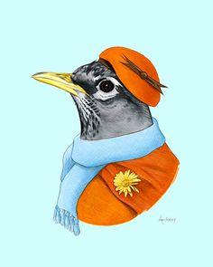 Robin Lady Kunstdruck von Ryan Berkley 8 x von berkleyillustration Bird People, Bunny Nursery, Rabbit Art, Feather Art, Pet Costumes, Affordable Art, Cute Illustration, Pet Portraits, Cool Art