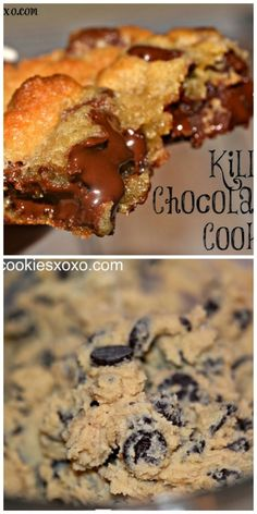 Killer Chocolate Chip Cookies … crisp on the outside & very sweet. Cookie Desserts, No Bake Desserts, Just Desserts, Cookie Recipes, Delicious Desserts, Dessert Recipes, Yummy Food, Awesome Desserts, Cookie Ideas