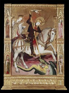 St George battles the dragon. St. George altarpiece, c. 1440, Valencia, Spain. Victoria and Albert Museum, London