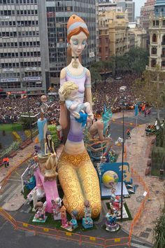 Las Fallas, Valencia Spain. These are going to get burned to the ground...on purpose.  Welcome to Fallas!