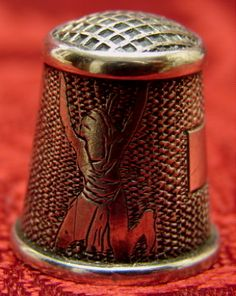 Rare Vintage Figural Scenic Sterling Silver Thimble Native American Indian, Cooking Pot, Corn